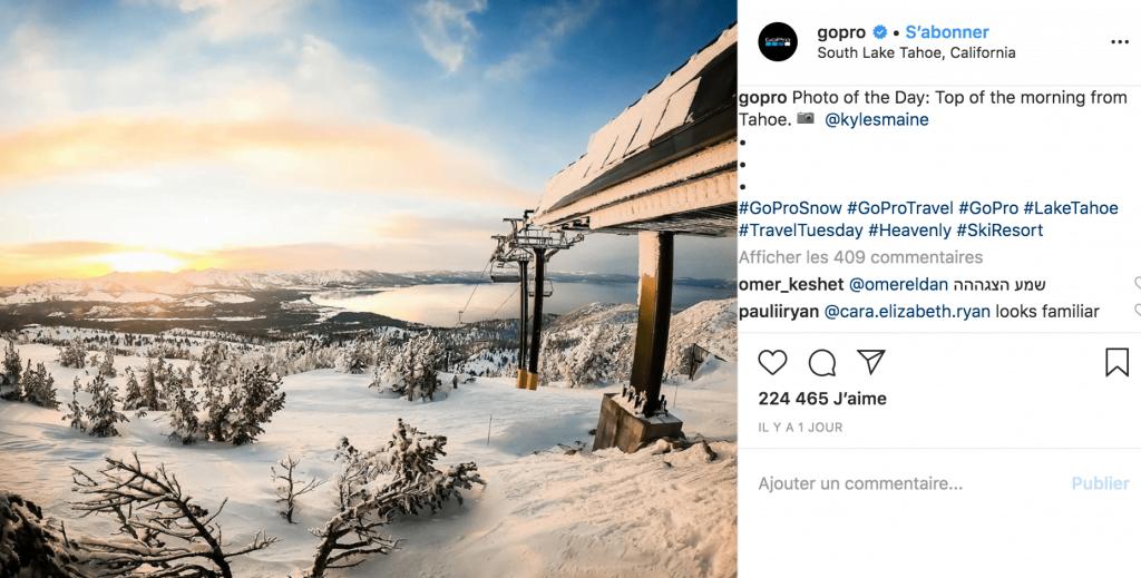 Go pro photo de la montage neige contenu utilisateurs